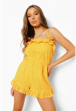Mustard gul Bow Detail Cross Back Broderie Playsuit