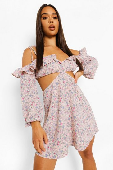 Rose pink Floral Print Cut Out Ruffle Skater Dress