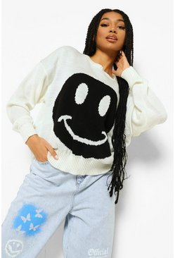 Ivory white Face Graphic Jumper