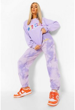 Jogginghose in Batik-Optik mit Official-Print, Violett