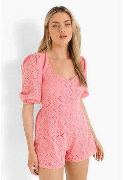 Coral pink Puff Sleeve Lace Up Back Broderie Playsuit