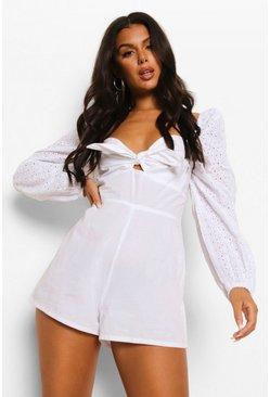 White Long Sleeve Tie Front Broderie Playsuit