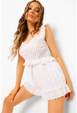 White Frill Detail Broderie Playsuit