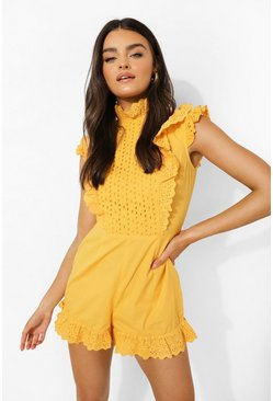 Mustard yellow Frill High Neck Broderie Playsuit