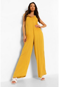 Mustard Cheesecloth Low Back Wide Leg Jumpsuit