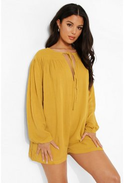 Mustard yellow Cheesecloth Tie Neck Romper