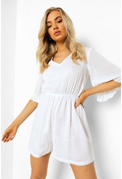 White vit Cheesecloth Lace Up Back Frill Playsuit