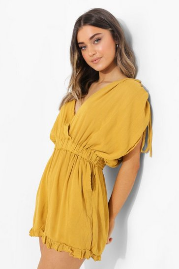 Mustard yellow Cheesecloth Rouched Wrap Playsuit