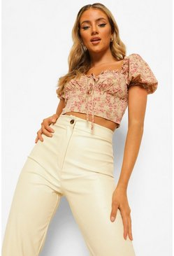 Mustard yellow Woven Floral Puff Sleeve Crop Top