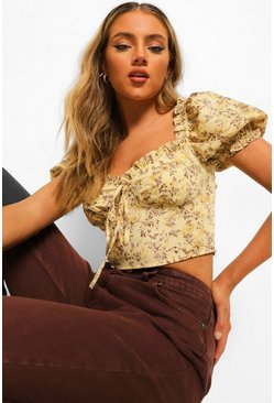 Stone beige Woven Floral Puff Sleeve Crop Top