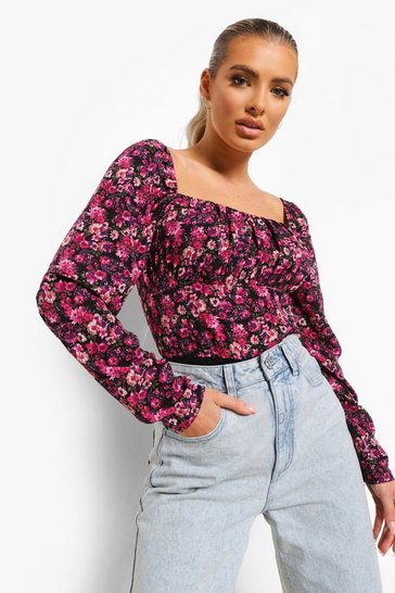 Purple Woven Floral Square Neck Bodysuit