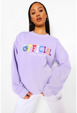 Lilac purple Official Oversized Overdyed Sweatshirt