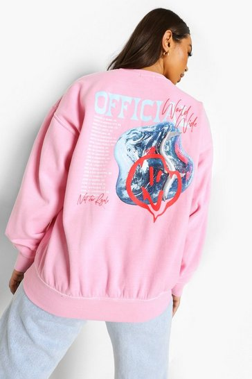 Pale pink pink Official Overdyed Printed Sweatshirt