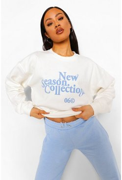 Ecru white New Season Slogan Sweatshirt