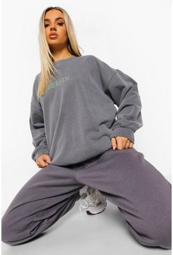 Charcoal grey Berlin Overdyed Oversized Sweatshirt