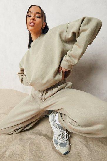 Taupe beige Beige Basic Oversized Sweatshirt