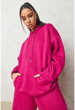 Pink Basic Oversized Hoodie