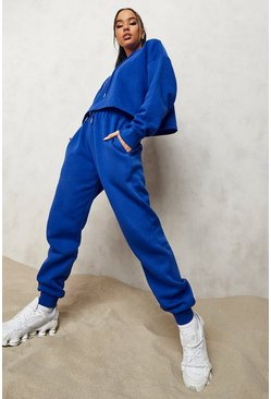 Cobalt blue Blue Oversized Cropped Hoodie