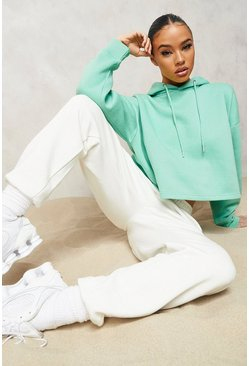 Green Oversized Cropped Hoodie
