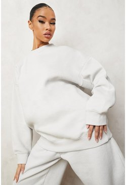 Stone beige Official  Oversized Embroidered Sweatshirt