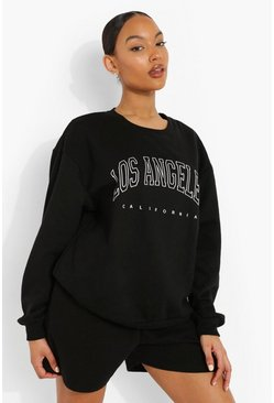 Black Los Angeles Slogan Sweatshirt