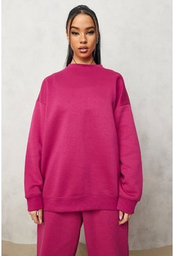 Pink Basic Oversized Sweatshirt