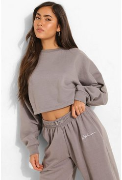 Charcoal Basic Cropped Sweatshirt