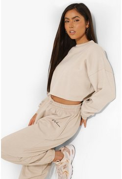 Stone beige Basic Cropped Sweatshirt