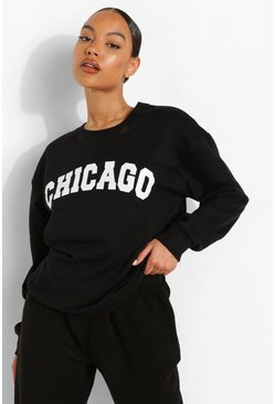 Black svart Chicago Sweatshirt med tryck