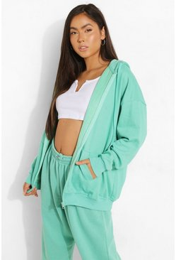 Jade green Basic Oversized Zip Through Hoodie