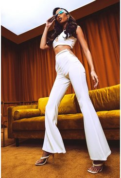Ivory white Cut Out Side Fit And Flare Pants