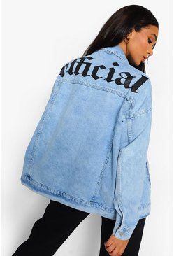 Ice blue Back Print Washed Oversized Denim Jacket