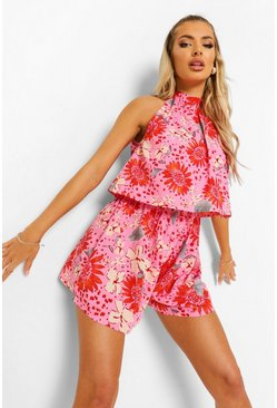 Coral pink Floral High Neck Frill Layered Playsuit