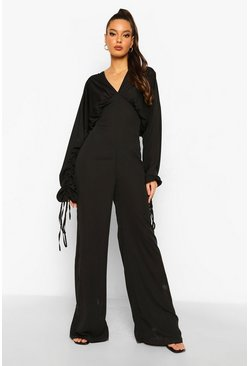 Black Rouched Sleeve Wide Leg Jumpsuit