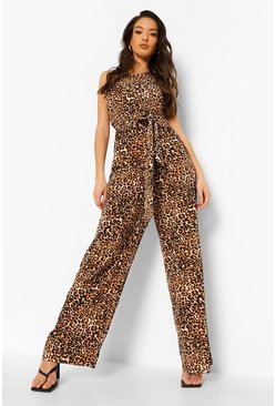 Brown Leopard One Shoulder Tie Waist Jumpsuit