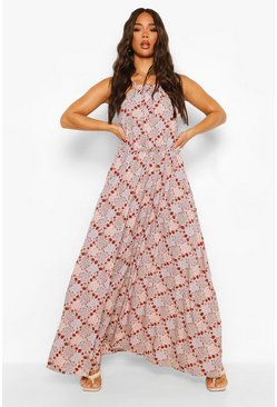 Ecru white Ditsy Floral Racer Neck Maxi Dress