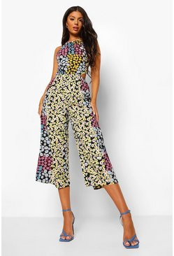 Black Floral Tie Neck Cut Out Cropped Jumpsuit