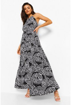 Black Paisley Print Racer Neck Maxi Dress