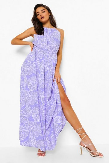 Blue Paisley Print Racer Neck Maxi Dress