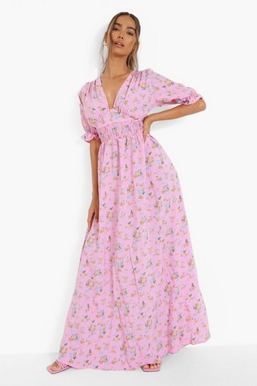 Pink Ditsy Floral Shirred Waist Maxi Dress