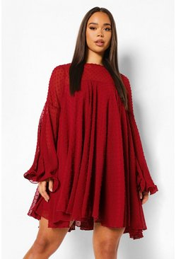 Berry red Dobby Mesh Pleated Detail Smock Dress