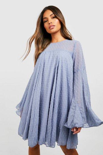 Blue Dobby Mesh Pleated Detail Smock Dress