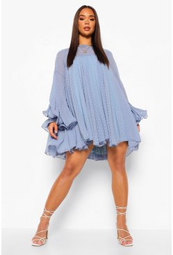 Blue Dobby Mesh Pleated Detail Smock Dress