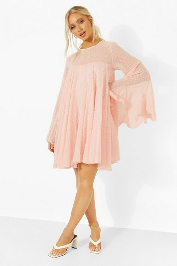 Pink Dobby Mesh Pleated Detail Smock Dress