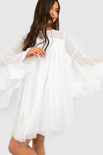 White Dobby Mesh Pleated Detail Smock Dress