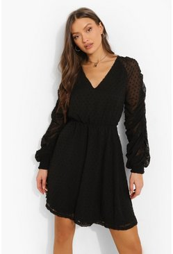 Black Dobby Mesh Rouche Sleeve Skater Dress