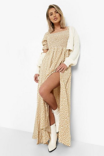 Cream white Ditsy Floral Square Neck Shirred Maxi Dress