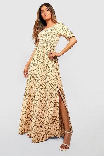 Cream white Ditsy Floral Square Neck Shirred Maxi Dress