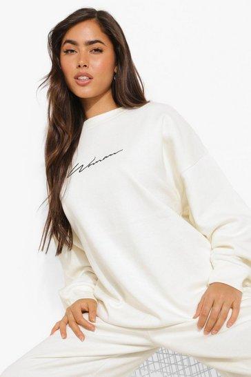 Ecru white White Oversized Embroidered Woman Script Sweatshirt