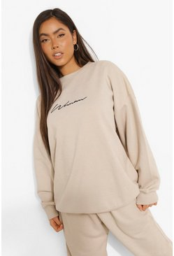 Stone Oversized Embroidered Woman Script Sweatshirt
